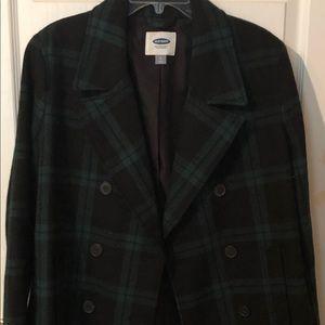 Old Navy Green plaid coat NWOT